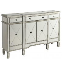 Coaster 102595 Accent Racks Mirror Panel Wine Cabinet with Removable Wine Rack in Silver Finish