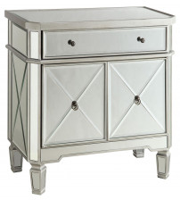 Coaster 102596 Accent Racks Mirror Panel Wine Cabinet with Removable Wine Rack in Silver Finish