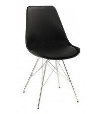 Coaster 102682 Dining Chairs and Bar Stools Contemporary Dining Chair with Chrome Legs in Black