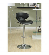 Coaster Furniture Accents Black Bar Stool with Swivel Seat in Chrome 120359