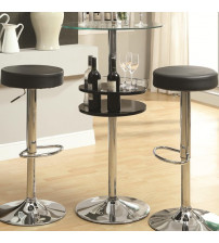 Coaster Furniture Counter Height Bar Table with Tempered Glass Top in Black 120715