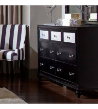 Coaster 200893 Barzini 7 Drawer Dresser with Metallic Acrylic Drawer Fronts in Black