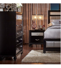 Coaster 200895 Barzini 5 Drawer Chest with Metallic Acrylic Top Drawer Front in Black