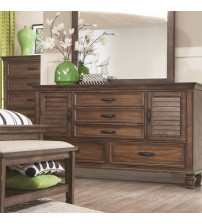 Coaster 200973 Franco 5 Drawer Dresser with 2 Louvered Doors Burnished Oak Finish