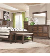 Coaster 200975 Franco 5 Drawer Chest with Felt Lined Top Drawer Burnished Oak Finish