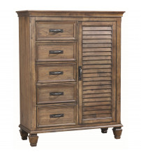 Coaster 200976 Franco 5 Drawer Man's Chest with Louvered Panel Door Burnished Oak Finish