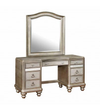 Coaster 204187 Bling Game Vanity Desk with 7 Drawers and Stacked Bun Feet in Metallic