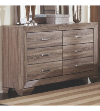 Coaster 204193 Kauffman Dresser with 6 Drawers and Tapered Feet Washed Taupe Finish