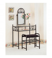 Coaster 2432 Vanities Casual Metal Vanity with Glass Top and Stool with Fabric Seat
