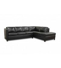 Baxton Studio 3166-Sofa/Chaise-Du013/L016 Rohn Black Leather Modern Sectional Sofa