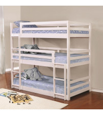 Coaster 401302 Bunks Triple Layer Bunk Bed in White