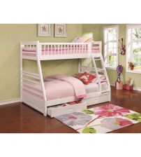 Coaster 460180 Bunks Twin over Full Bunk Bed with 2 Drawers and Attached Ladder in White
