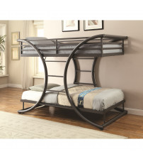 Coaster 461078 Bunks Twin-over-Twin Contemporary Bunk Bed Gunmetal Finish