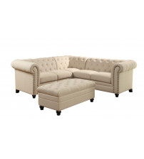Coaster 500222 Roy Button-Tufted Sectional Sofa in Oatmeal