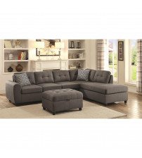 Coaster 500413 Stonenesse Grey Contemporary Sectional with Button Tufted Cushions in Grey