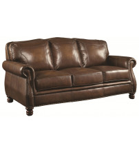 Coaster 503981 Montbrook Traditional Sofa with Rolled Arms and Nail head Trim in Hand Rubbed Brown