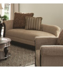 Coaster 550037 Beasley Traditional Chaise with Single Rolled Arm and Wood Trim