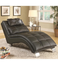 Coaster Furniture Upholstery Stationary Fabric Chaise in Black 550075