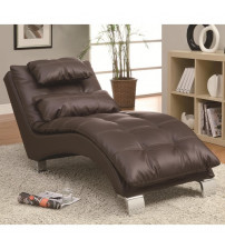 Coaster Furniture Upholstery Stationary Fabric Chaise in Dark Brown 550076