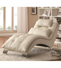 Coaster Furniture Upholstery Stationary Fabric Chaise in White 550078