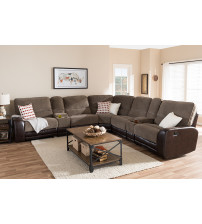 Baxton Studio 7004A-D110-Brown-SF Richmond Modern and Contemporary Taupe Two-Tone Sectional Sofa