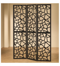 Coaster Furniture Accents Intricate Mosaic Folding Screen in Black 900092