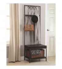 Coaster 900599 Coat Racks Hall Tree with Storage Bench in Black