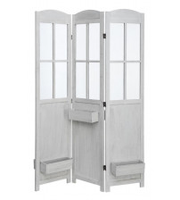 Coaster 900636 Folding Screens Three Panel Vintage Screen with White Finish