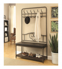 Coaster 900932 Coat Racks Hall Tree with Storage Bench in Black