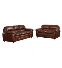 Baxton Studio 9015-Loveseat/Sofa Redding Leather Modern Sofa Set in Brown