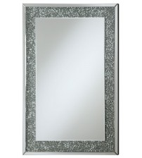 Coaster 901589 Accent Mirrors Mirror with Mirrored Frame and Pebble-Like Insert