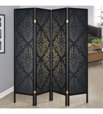 Coaster 901632 Folding Screens Four Panel Folding Floor Screen with Black Finish & Gold Tone Damask Print