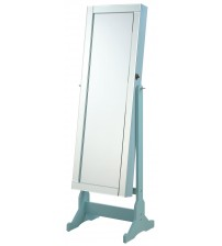Coaster 901867 Accent Mirrors Jewelry Cheval Mirror with Interior Storage in Light Blue