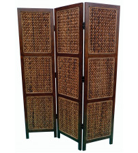 Coaster 901921 Folding Screens Three Panel Folding Floor Screen with Woven Banana Leaf Panels