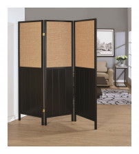 Coaster 902624 Folding Screens Three Panel Folding Screen with Woven Panels in Black