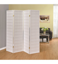 Coaster 902626 Folding Screens Four Panel White Folding Screen in White
