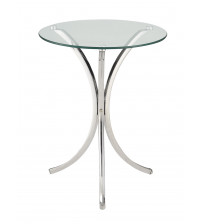 Coaster 902869 Accent Tables Clear Tempered Glass Accent Table Chrome Finish