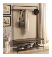 Coaster 902921 Coat Racks Industrial Hall Tree in Coffee/Black