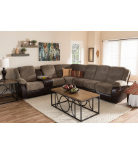 Baxton Studio 9393F-D110-Brown-SF Robinson Modern and Contemporary Taupe Two-Tone Sectional Sofa