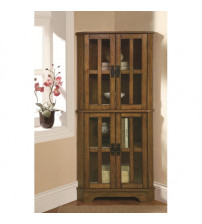 Coaster Furniture Accents Curio with Windowpane Style Door Fronts in Warm Brown 950185