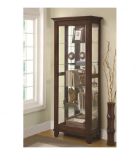 Coaster Furniture Accents Curio with Mirrored Back and Can Lighting in Medium Brown 950187