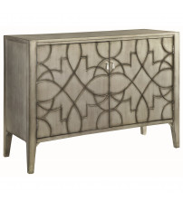 Coaster 950631 Accent Cabinets Accent Cabinet with Carved Doors Silver Finish