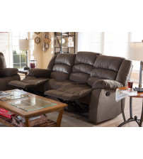 Baxton Studio 98240-Brown-SF Hollace and Contemporary Taupe Microsuede 3-Seater Recliner