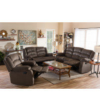 Baxton Studio 98240-Brown 3PC Set Microsuede Sofa Loveseat and Chair Set with 5 Recliners Living room Set