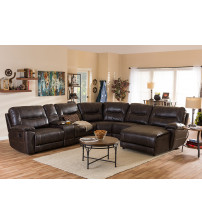 Baxton Studio 99170-Brown-SF Mistral Bonded Leather 6-Piece Sectional with Recliners Corner Lounge Suite