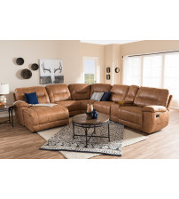 Baxton Studio 99170-J109-Light Brown-SF Mistral Light Brown Palomino Suede 6-Piece Sectional with Recliners Corner Lounge Suite