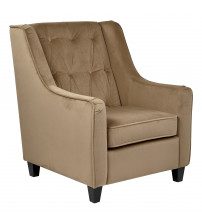 Ave Six CVS51-C27 Cruves Tufted Back Armchair with Coffiee Velvet Easy-Care Wood Espresso Legs in Coffee Finish