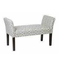 Ave Six KLS20-G16 Kelsey Bench with Dark Espresso Legs and Abby Geo Grey Fabric