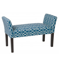 Ave Six KLS20-G17 Kelsey Bench with Dark Espresso Legs and Abby Geo Blue Fabric
