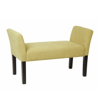 Ave Six KLS20-S37 Kelsey Bench with Dark Espresso Legs and Shultz Basil fabric